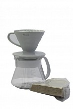 Hario sada V60-01 Dripper & Pot - vše v jednom ( dripper + server + filtry)